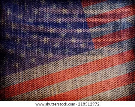 National flag on denim texture: USA - stock photo