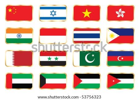 National flags - Asian set.  JPEG version. - stock photo