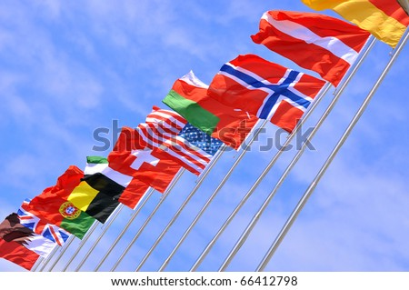 National flags of different country - stock photo