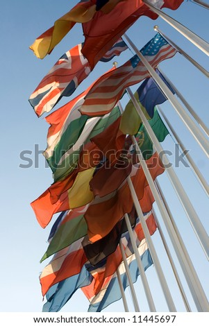 national flags on blue sky - stock photo