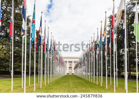 National flgs at the entrance in UN office at Geneva, Switzerland - stock photo