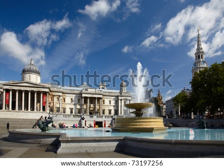 National Gallery and Trafalgar square in London - stock photo