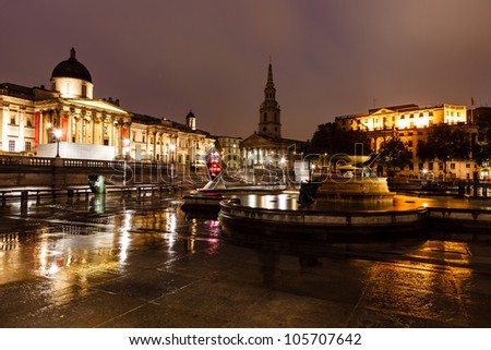 National Gallery and Trafalgar Square in the Night, London, United Kingdom - stock photo