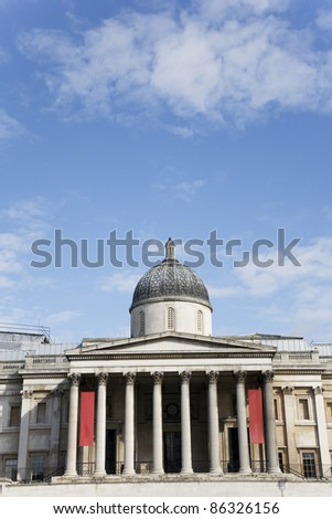 National Gallery seen from Trafalgar Square in a bright day
