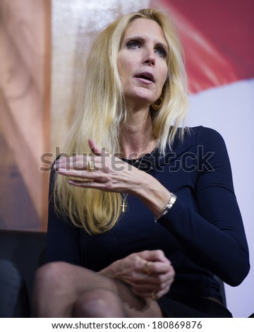 NATIONAL HARBOR, MD - MARCH 8, 2014: Conservative broadcast personality Ann Coulter speaks at the Conservative Political Action Conference (CPAC). - stock photo