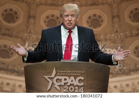 NATIONAL HARBOR, MD - MARCH 6, 2014: Donald Trump speaks at the Conservative Political Action Conference (CPAC).