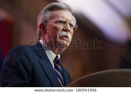 NATIONAL HARBOR, MD - MARCH 6, 2014: Former United Nations Ambassador John Bolton speaks at the Conservative Political Action Conference (CPAC). - stock photo