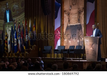 NATIONAL HARBOR, MD -? MARCH 8, 2014: Neurosurgeon and author Ben Carson speaks at the Conservative Political Action Conference (CPAC). - stock photo