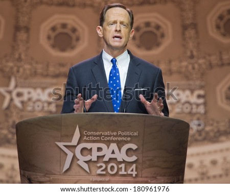 NATIONAL HARBOR, MD - MARCH 6, 2014: Senator Pat Toomey (R-PA) speaks at the Conservative Political Action Conference (CPAC). - stock photo