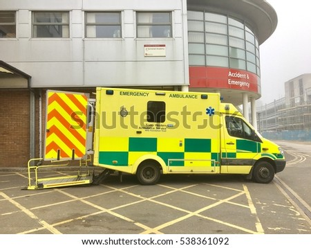 National Health Service, UK - 16th October 2016: Emergency patient transport, NHS Ambulance service for NHS hospital and emergency services in, Yeovil District Hospital, UK