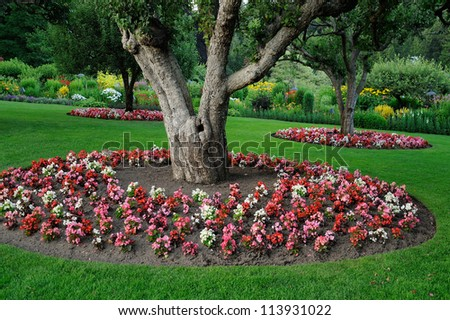 national historical site butchart garden in spring, victoria, british columbia, canada - stock photo