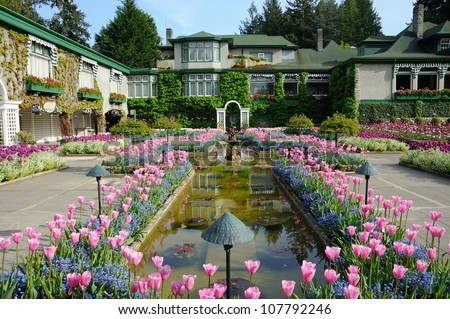 national historical site italian garden in summer, vancouver island, british columbia, canada - stock photo