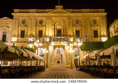 National Library in Valletta in a warm summer night - stock photo