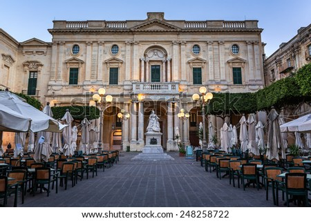 National Library of Malta in the Evening, Valletta, Malta - stock photo