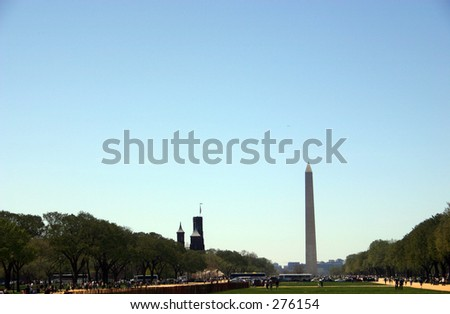 national mall, washington monument, smithsonian castle, washington, dc...sky area for text if wanted.