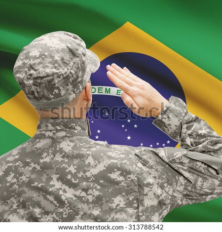 National military forces with flag on background conceptual series - Brazil - stock photo