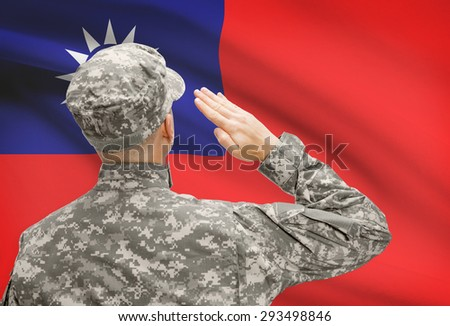 National military forces with flag on background conceptual series - Taiwan - stock photo