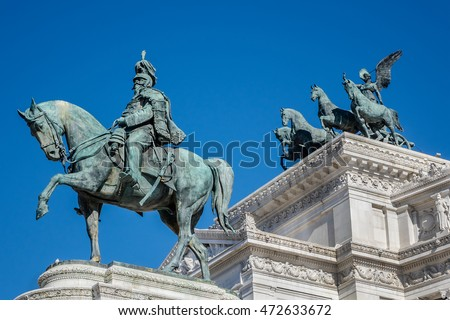 National Monument to Victor Emmanuel II (Altare della Patria) built in honour of Victor Emmanuel - first king of a unified Italy. Rome. Statue of Victor Emmanuel II - Father of the Nation.
