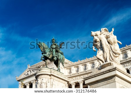 National Monument to Victor Emmanuel II or Altare della Patria  built in honour of Victor Emmanuel in Rome, Italy. - stock photo