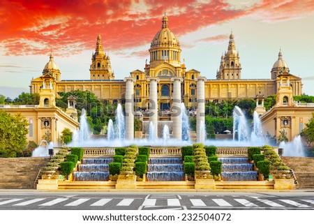 National Museum in Barcelona,Placa De Espanya,Spain. - stock photo