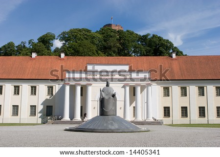 National Museum of Lithuania with monument to grand duke Mindaugas and Gediminas Tower, Vilnius