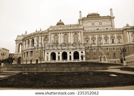 National opera house in Odessa, Ukraine, vintage styled photo - stock photo