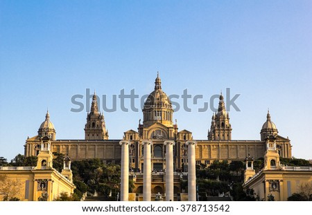 National Palace of Barcelona, with the four pillars that symbolize the Catalan flag. Barcelona, Catalonia, Spain. - stock photo