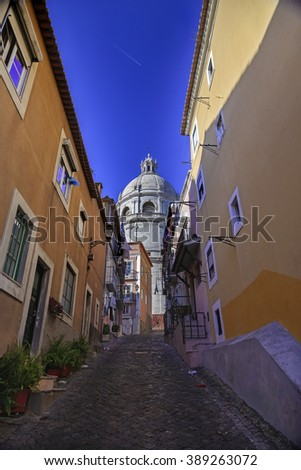 National Pantheon and typical Lisbon street, Portugal