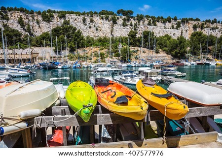 National Park Calanques on the Mediterranean coast. Dock for repair of yachts and boats.  The fjords between stony coast - stock photo