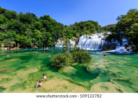 National Park Krka and Cascade of Waterfalls on River Krka, Croatia - stock photo