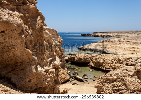 National park Ras Mohammed in Egypt. Sea view.