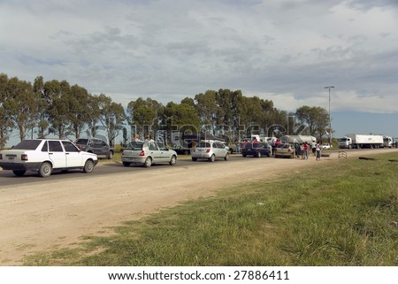 NATIONAL ROUTE 51, ARGENTINA - MARCH 21: Farmers strike against exportations' tax March 21, 2008 in National Route 51. Conflict remains unsolved from most than a year where soya tax reaches 35%.
