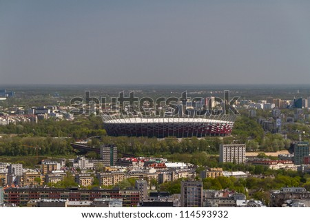 NATIONAL STADIUM IN WARSAW, POLAND - APRIL 25: Warsaw National Stadium on April 25, 2012. The National Stadium will host the opening match of the UEFA Euro 2012. - stock photo