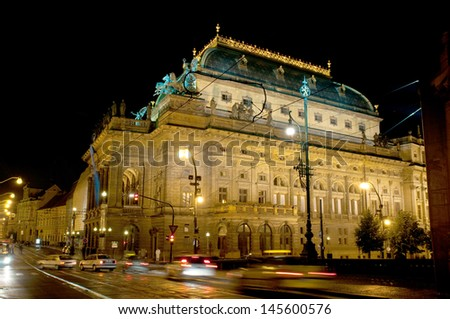 national theatre in the night, Prague - stock photo