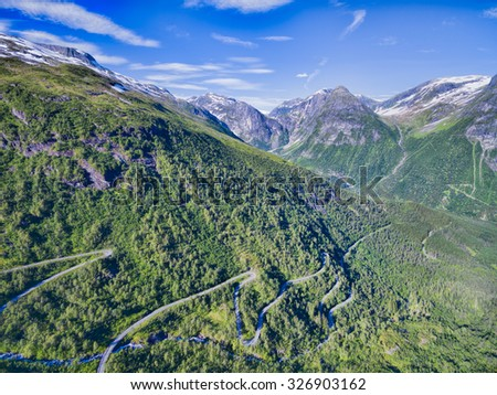 National tourist road in Gaularfjellet mountain pass in Norway - stock photo