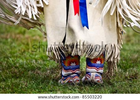 Native american dancer at a Powwow - stock photo