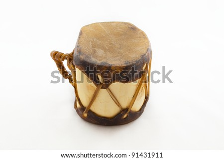 Native american drum isolated on white - stock photo
