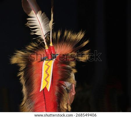 Native American Feathered Headdress at Powwow - stock photo