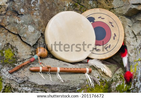 Native American Frame Drums and Flute and Shaker. - stock photo