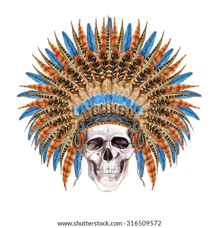 Native American Headdress. Feathered war bonnet with skull. Watercolor skull in indian war bonnet. Hand painted illustration - stock photo