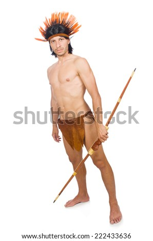 Native american in funny concept isolated on white - stock photo