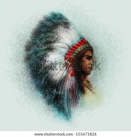 Native American Indian Chief - stock photo