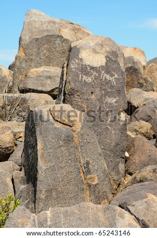native american indian petroglyphs - stock photo