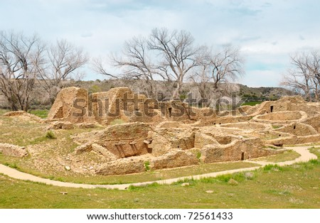 native american indian ruins of stone dwellings - stock photo