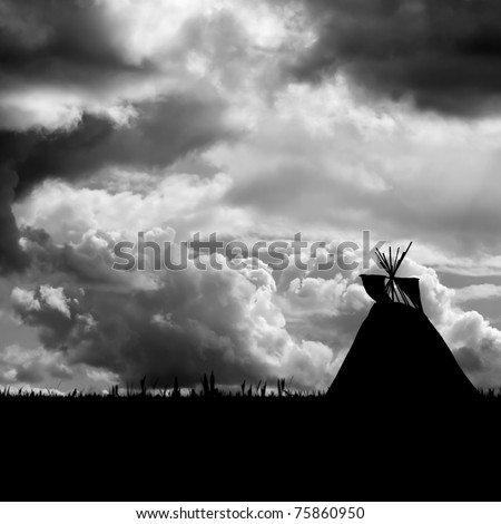 Native American landscape. North American Indian Tepee silhouette against a turbulent dramatic sky . Black and white - stock photo