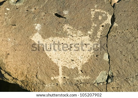 Native American petroglyphs featuring an image of a bird at Petroglyph National Monument, outside Albuquerque, New Mexico - stock photo