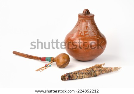 Native American Pueblo Pottery with Smudge Stick and Shaker.