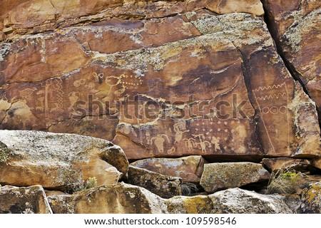 Native American Rock Art Petroglyphs � First Site at Nine Mile Canyon, UT - stock photo