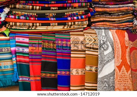 Native american rugs on display in Santa Fe - stock photo