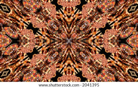 Native American Style Abstract Cross Background With Beads - stock photo